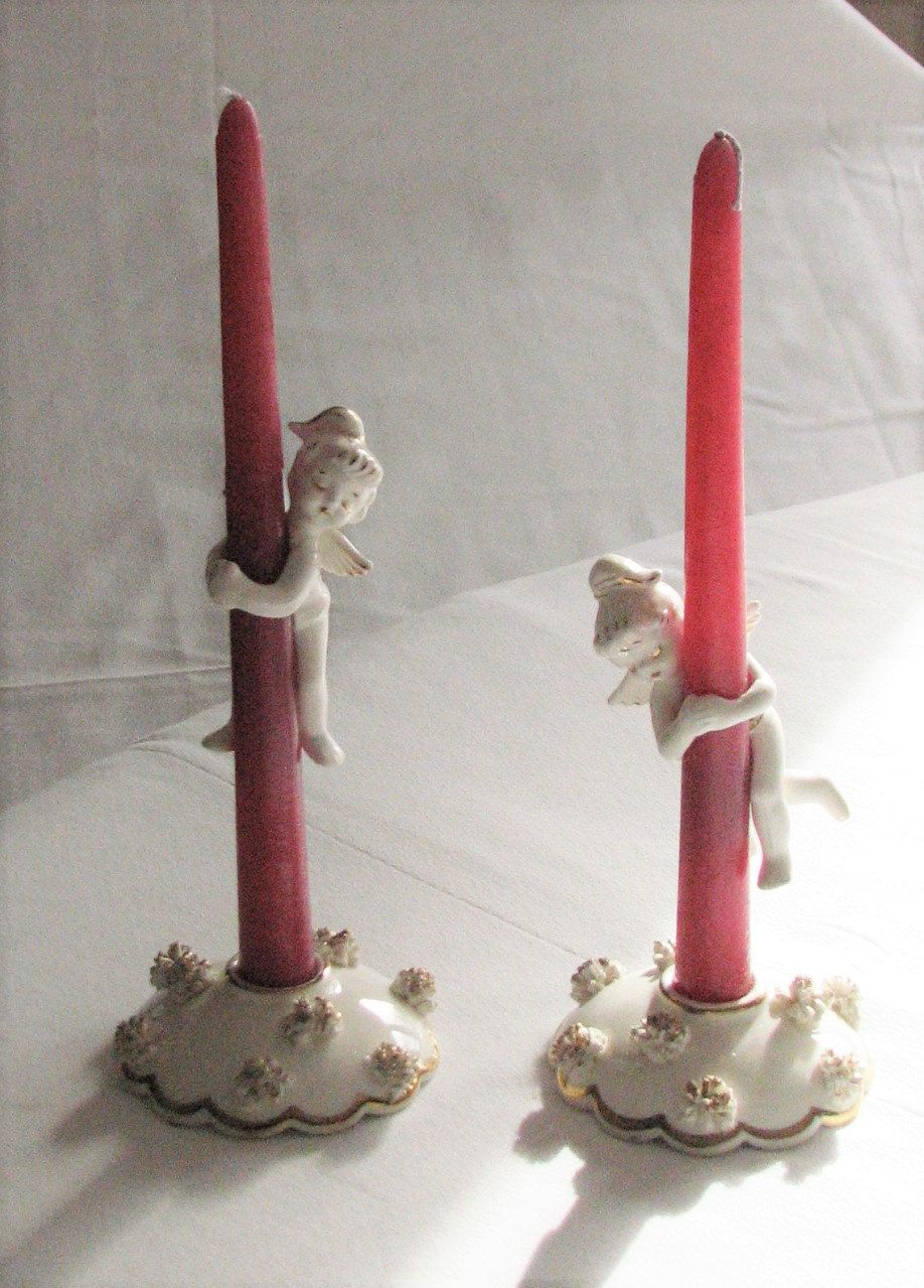 Vintage Fenton Angel Candle Huggers and Candle Holders