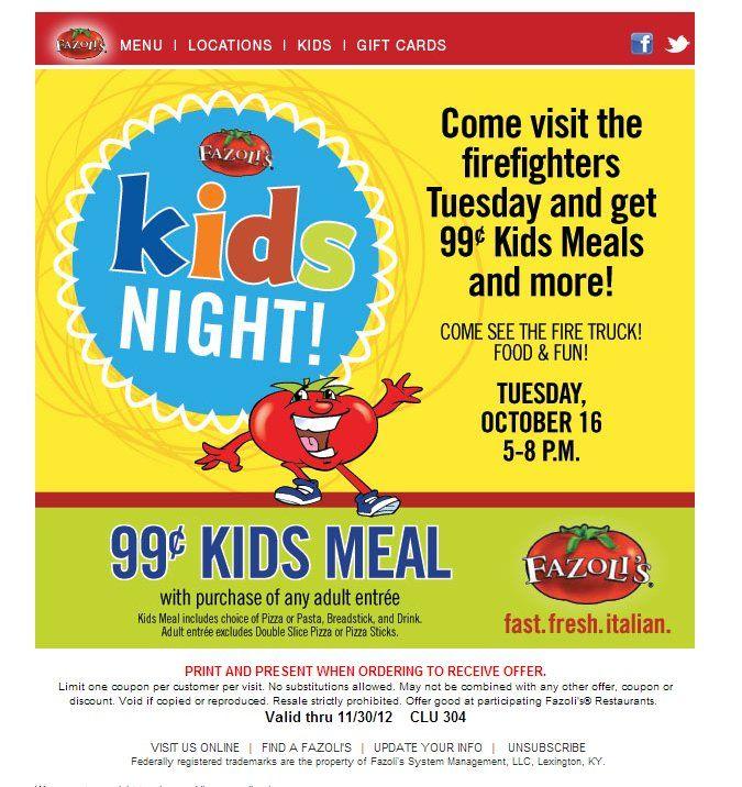 Fazolis 99 Kids Meal Printable Coupon