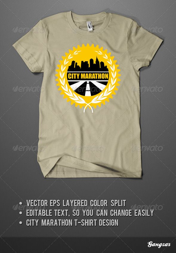 f06ee20d3 City Marathon T-Shirt Design. Vector illustration. All text and color are  easy editable and ready for print. Font used Impact, the