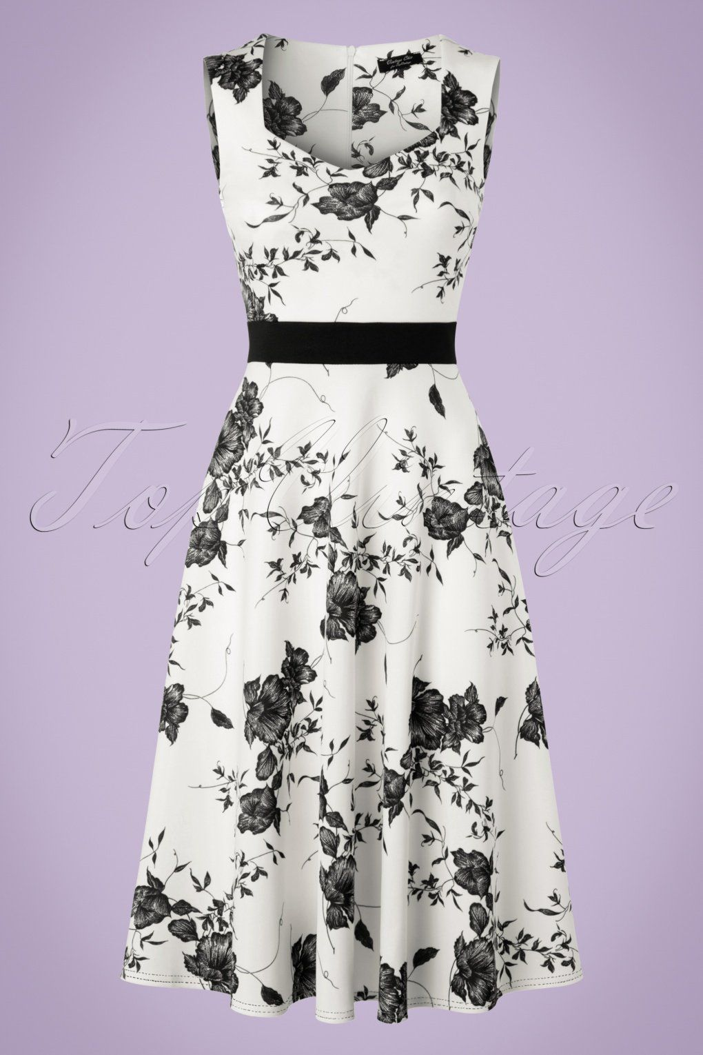 Exclusive ~ 50s Veronique Floral Swing Dress in White | Vintage ...