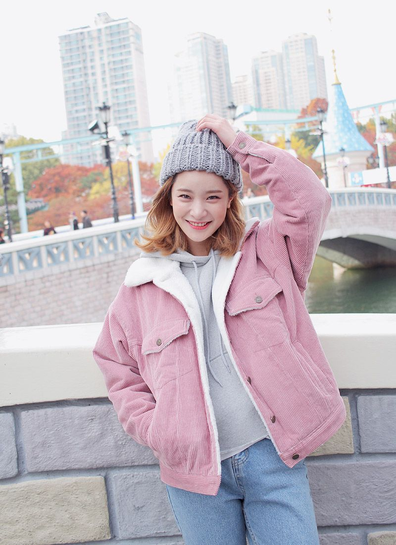 c957ebad9e17 Faux Wool Lined Corduroy Jacket (Pink)