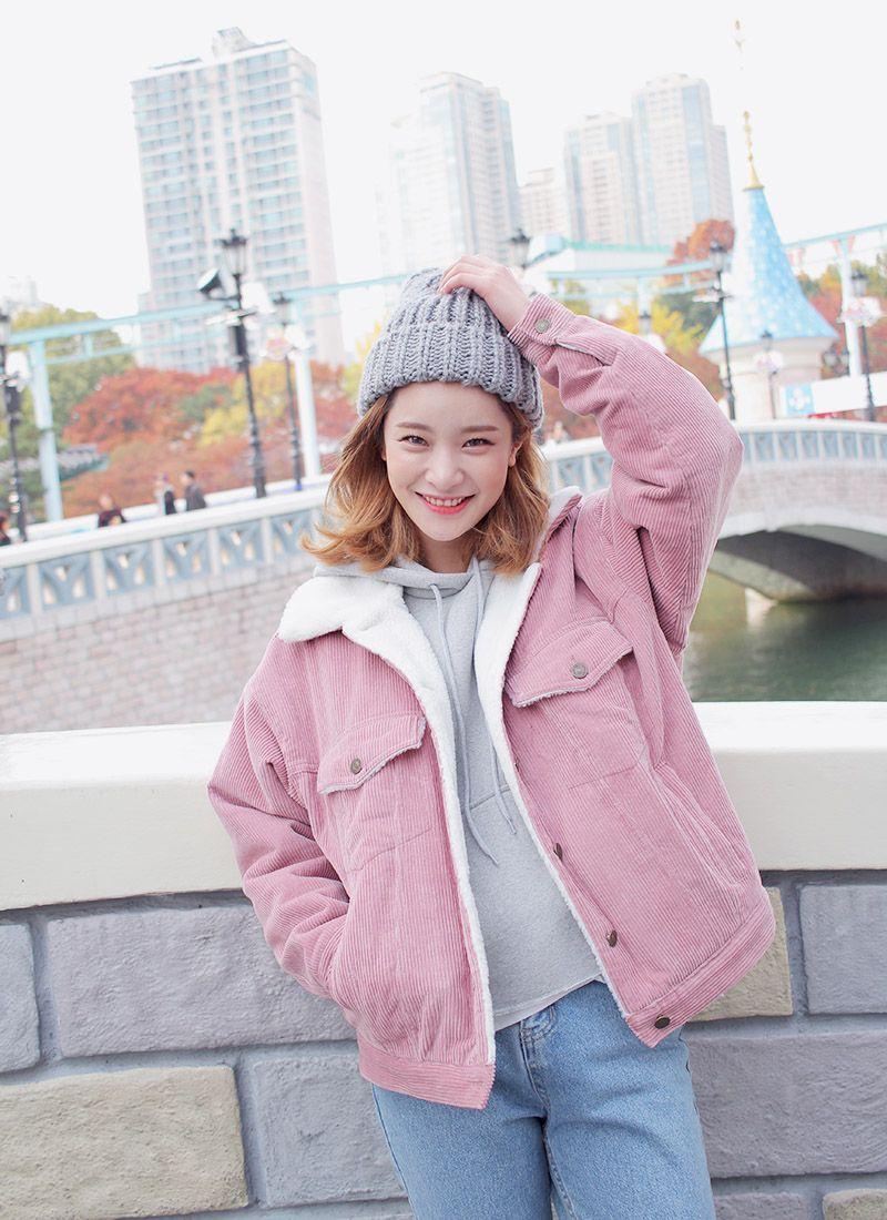 Faux Wool Lined Corduroy Jacket (Pink) | STYLENANDA ...