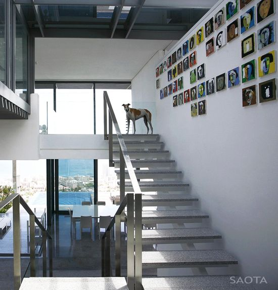 Suspended Style 32 Floating Staircase Ideas For The: Art Above The Stairs. #style #decor #grey #modern #dog