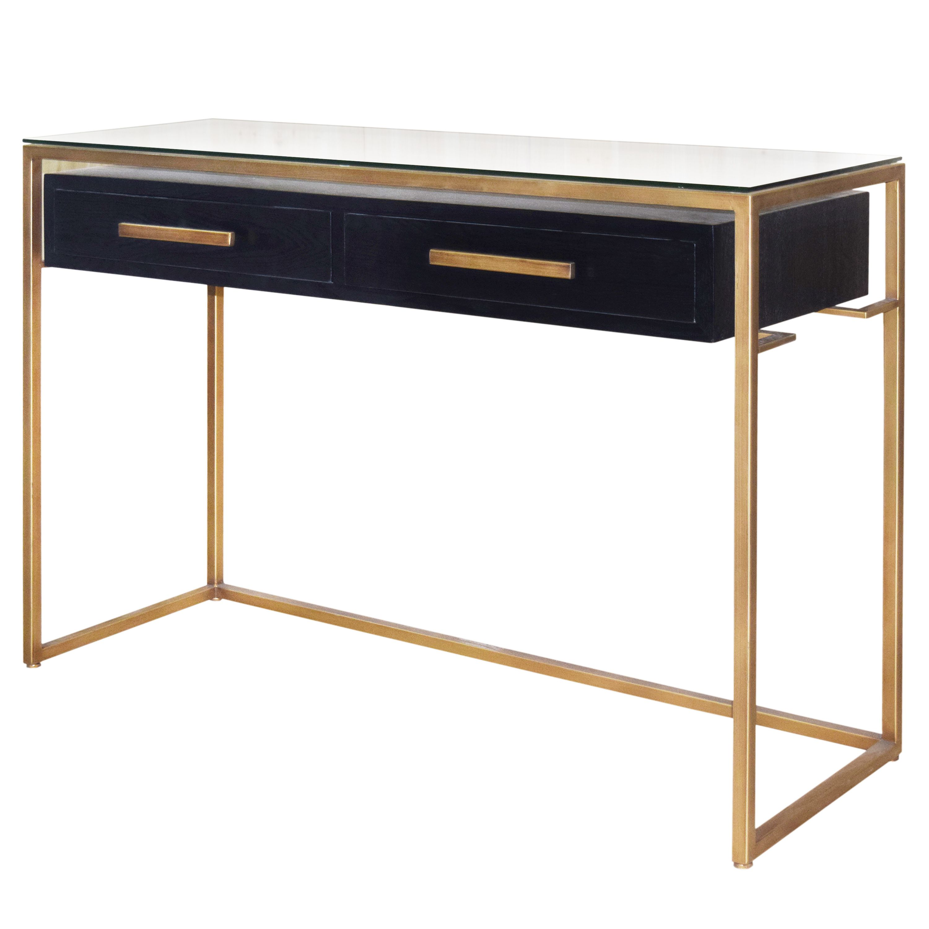 Firenze floating console table 2 drawers gold frame in