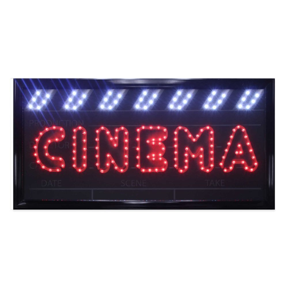 flashing led lighted movies cinema marquee sign wall decor home