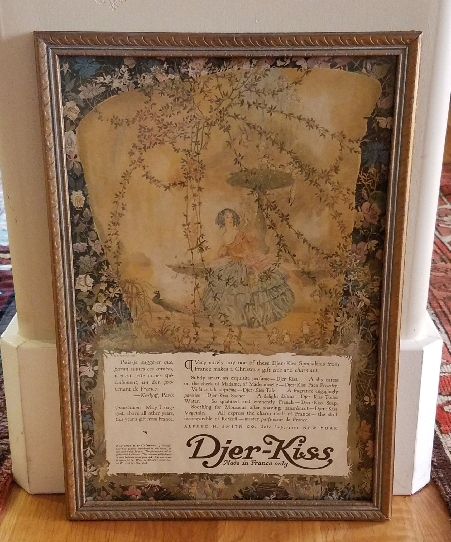 Framed Perfume Advertisement For Djer Kiss Art Work By Etsy Antique Perfume Perfume Frame