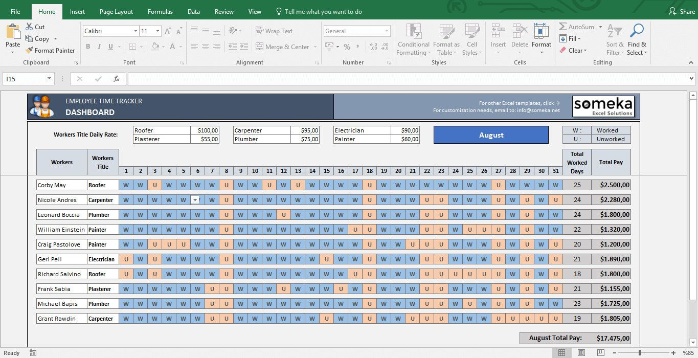 Employee Time Tracker And Payroll Template In Excel Etsy In 2021 Payroll Template Time Tracker Excel Templates Salary payroll xls excel sheet