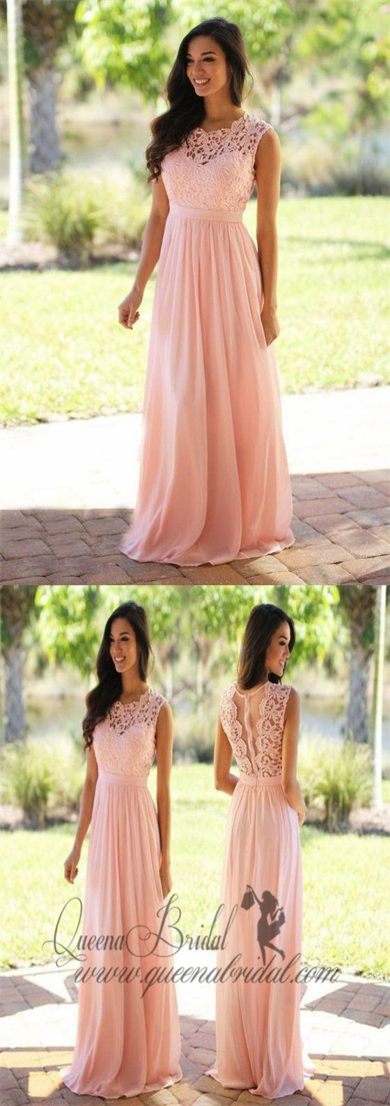 Elegant Lace Floor-Length Applique Blush Pink Long Formal Cheap Chiffon Bridesmaid Dresses, WG35 #lacebridesmaids