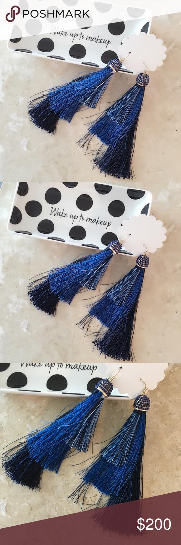 Just innavy blue ombre tassel earrings boutique blue ombre