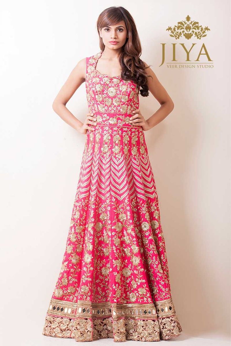 floor length gown bright piunk