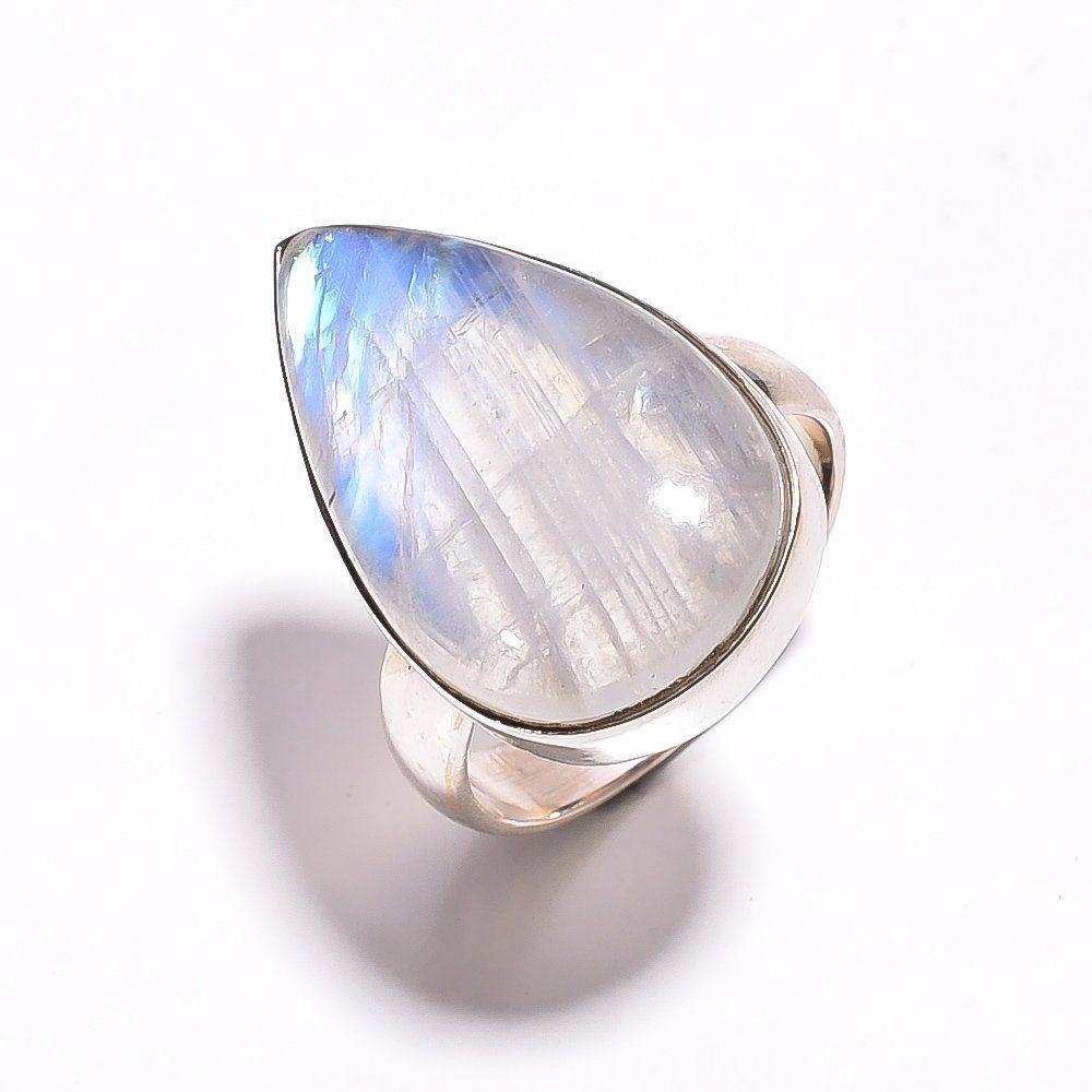 925 Sterling Silver Jewelry Rainbow Moonstone Gemstone Ring S US 7