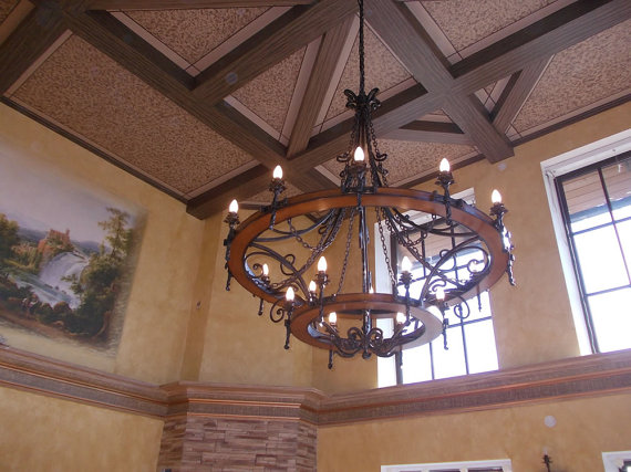 Large Wrought Iron Chandelier Wagon Wheel Style 18 By