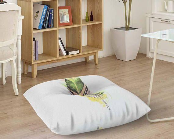 Decorative floor seating Floor pillow Watercolor feather floor ...