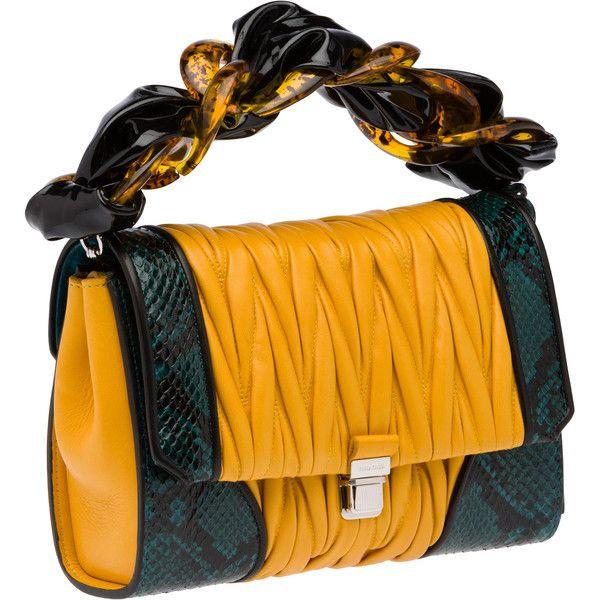 Miu Miu Top Handle (21.315 NOK) ❤ liked on Polyvore featuring bags, handbags, snakeskin handbags, zipper handbag, python purse, orange purse and chain strap purse