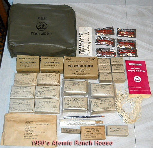 Vintage Cold War Atomic Bomb Civil Defense First Aid Kit