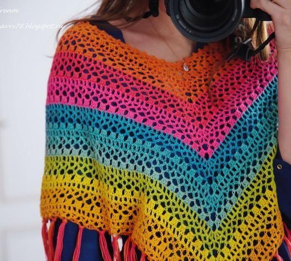 Stylish Easy Crochet Crochet Poncho Pattern Delightful Colors