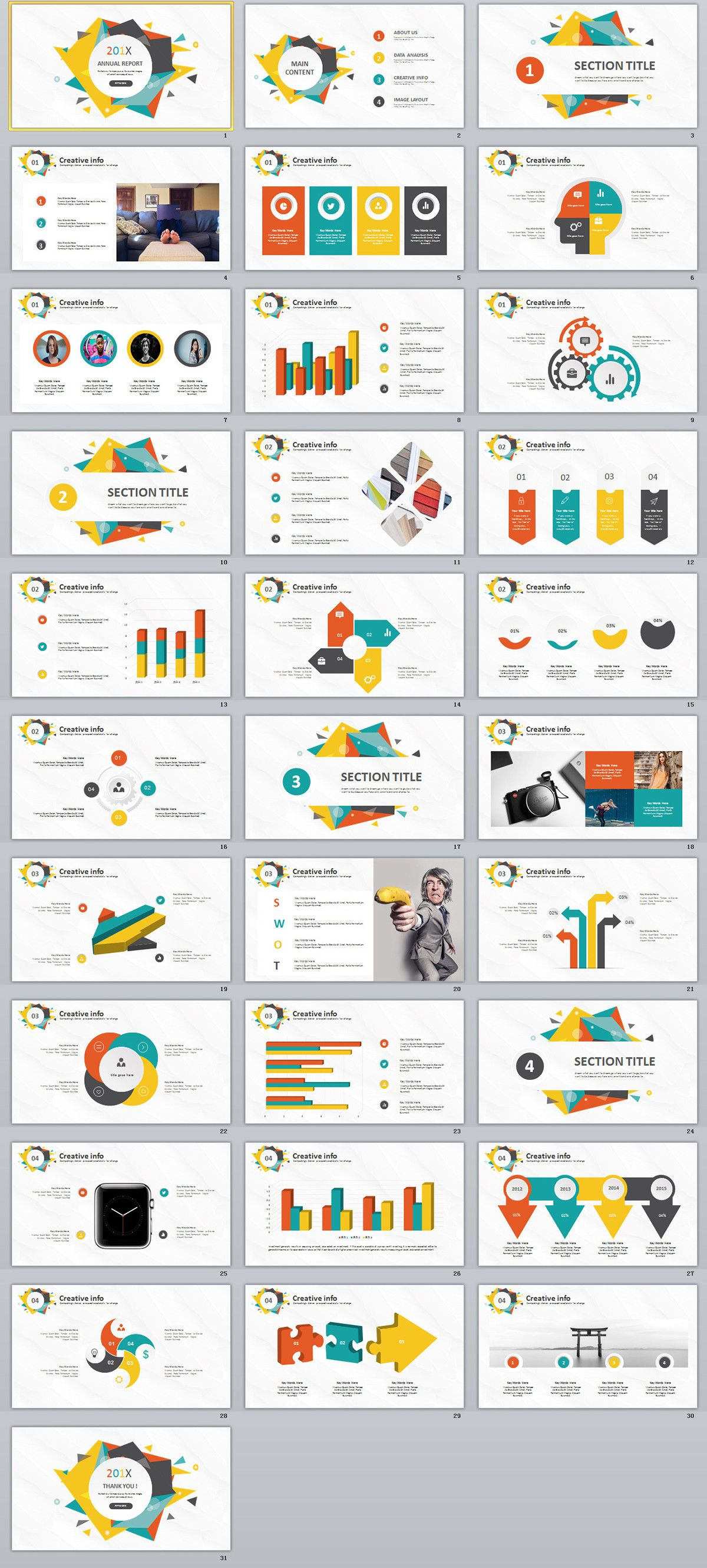 31+ Best multicolor Creative annual report PowerPoint t on