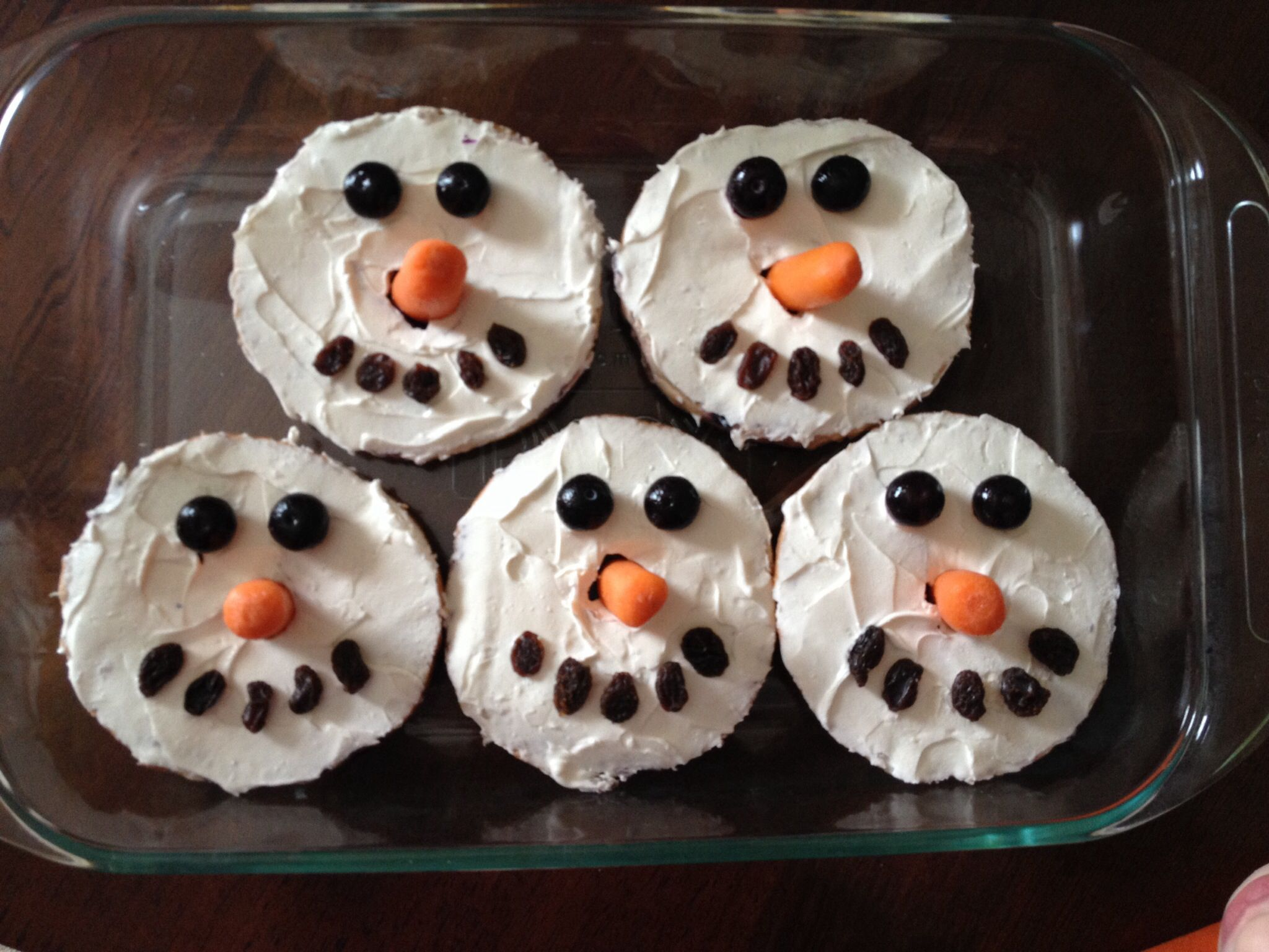 Snowman Cream Cheese Bagels For Preschool Treat Snack