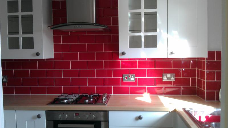 Red Splashback White Sockets Google Search Brick Tilesbrickskitchen Ideas