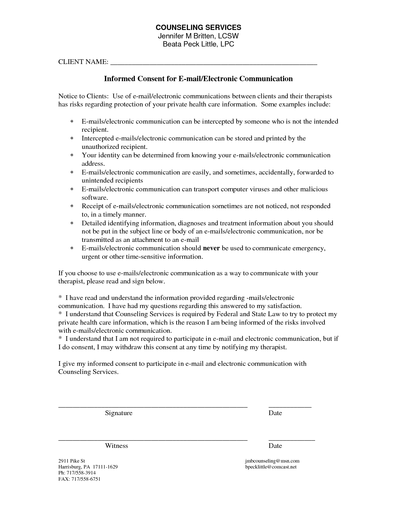 Counseling Informed Consent Form Template | Counseling Adaptations ...