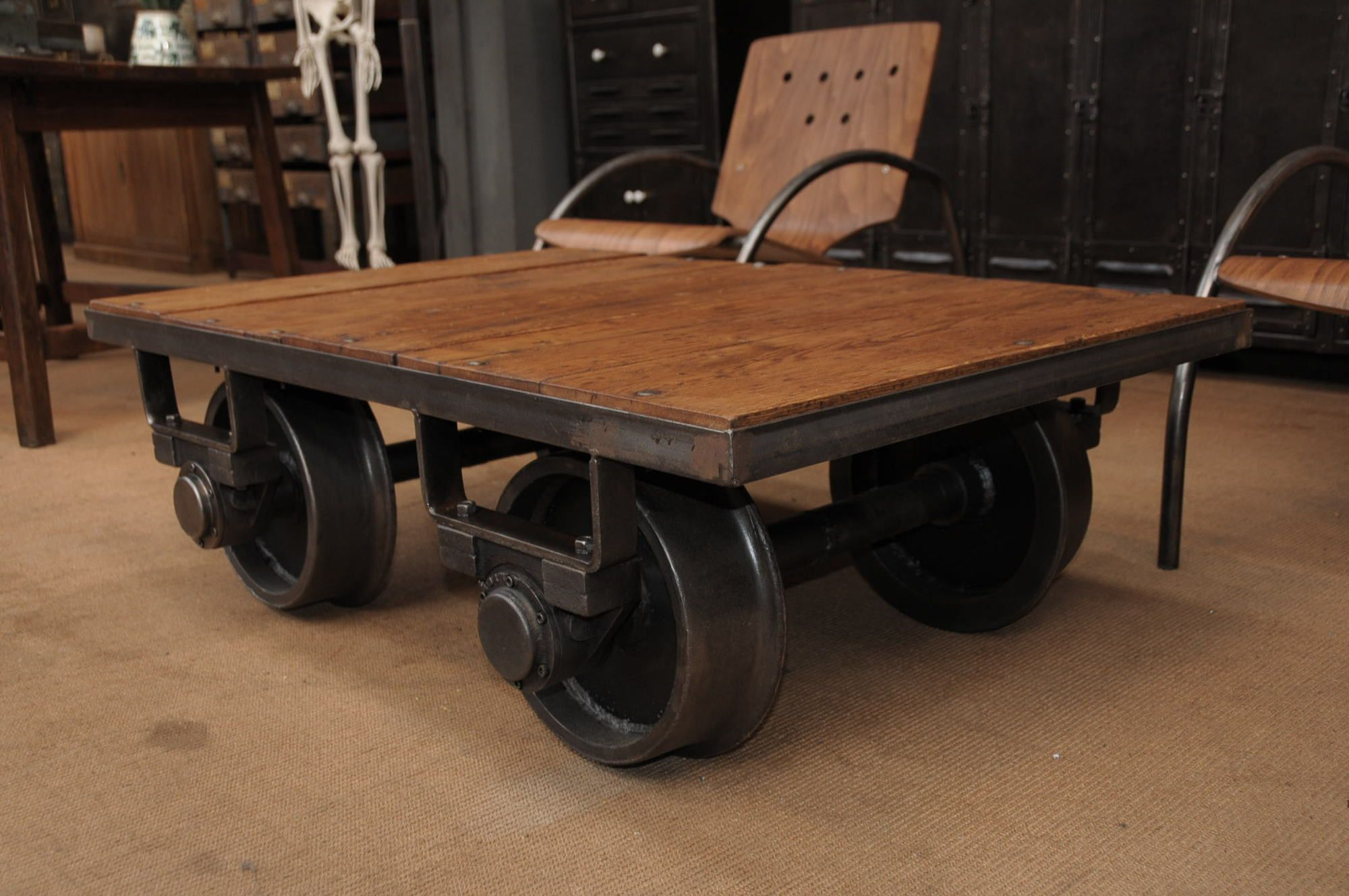 SOLD An Old Coal Mine Cart Transformed Into A Coffee Table 1 Copy