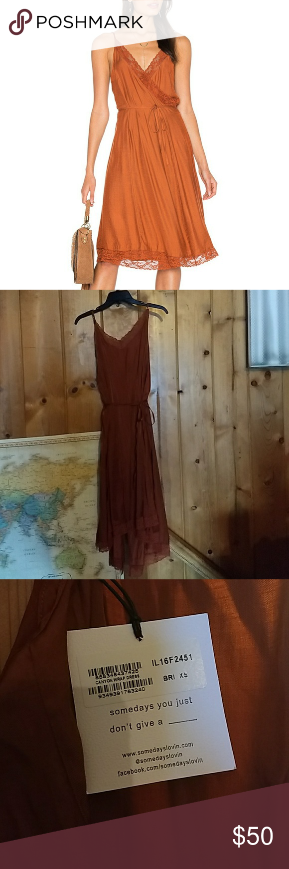 Canyon Wrap Dress Brick colored satin wrap dress with lace
