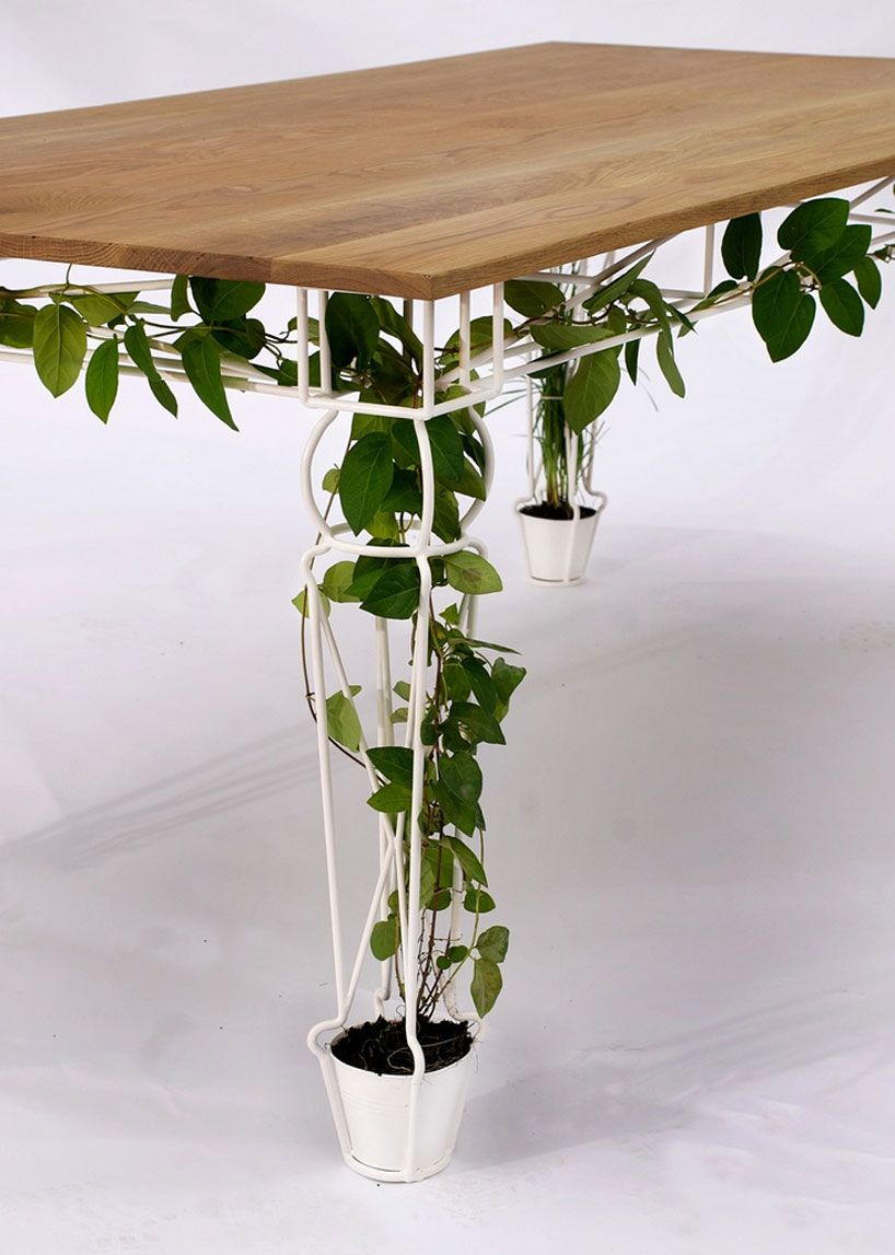 the table offers places for plants to grow within the base of each of the four legs, which are designed to allow vegitation to intertwine between its structure.