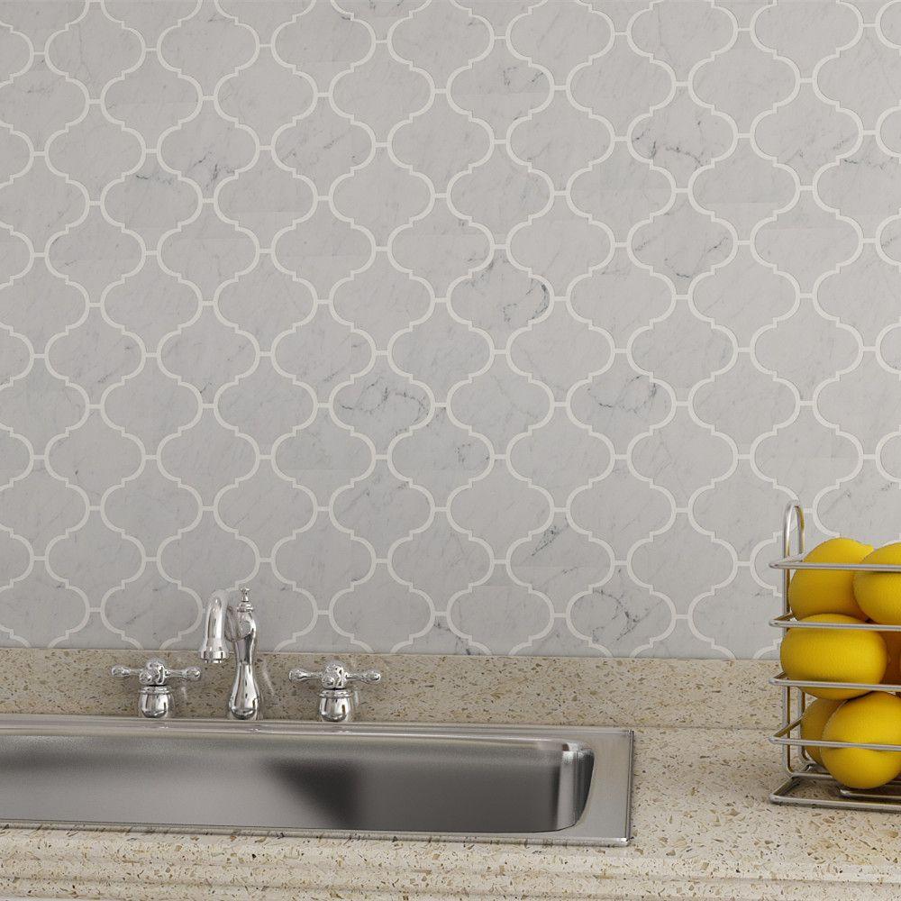 Arabesque Tiles Kitchen Wall: Bianco Carrara Marble Arabesque Mosaic Tile