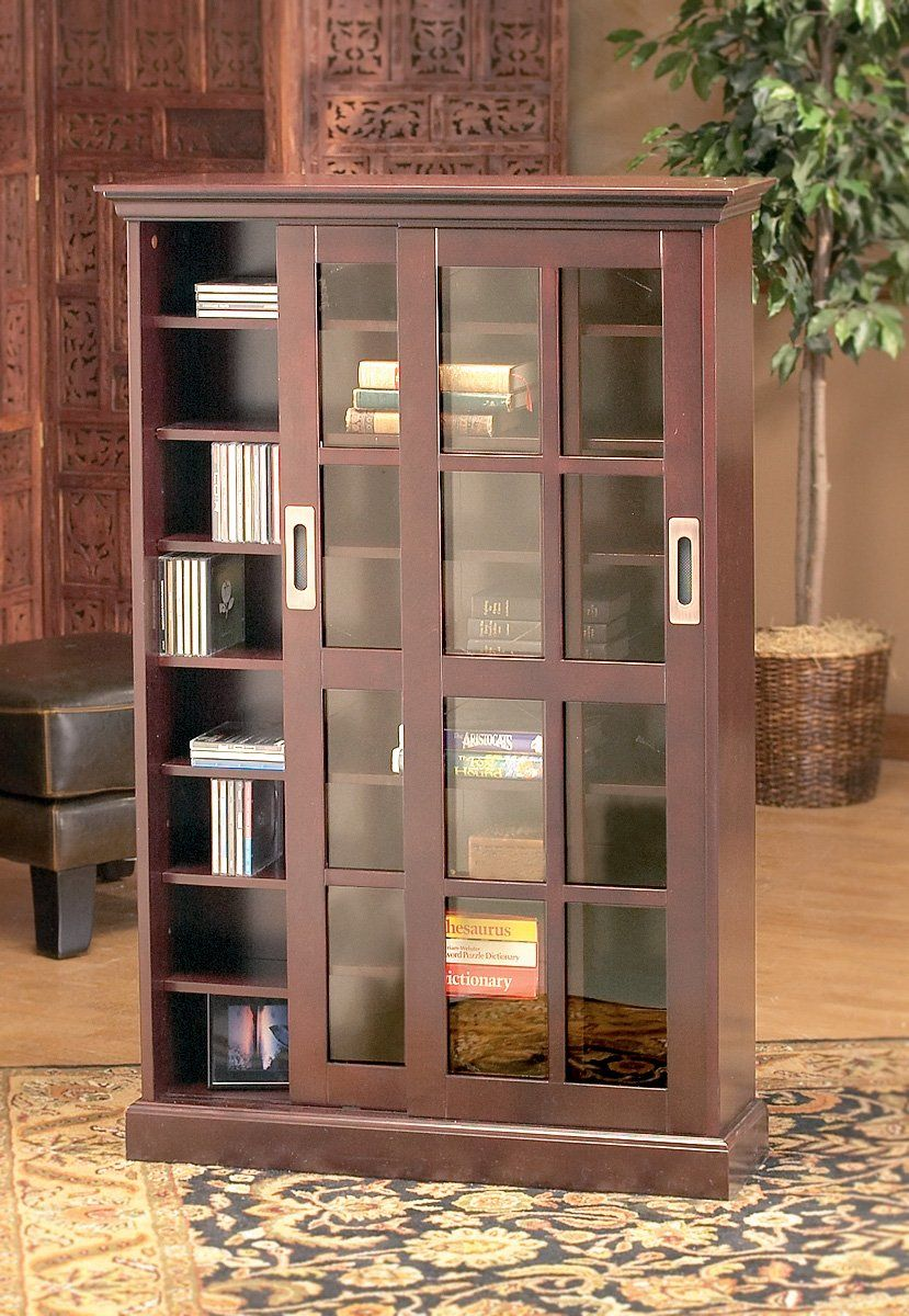 Holly Martin Emerson Sliding Door Media Cabinet Bookcase With Glass Doors Glass Bookcase Wooden Bookcase Wood bookcase with glass doors