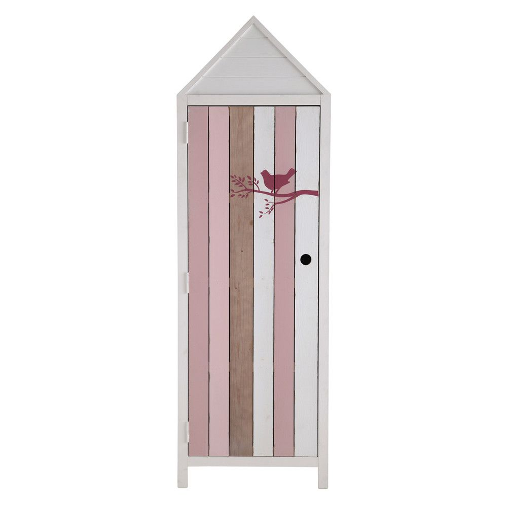 dressing enfant cabine de plage en bois blanc et rose l 60 cm maisons du monde chambre. Black Bedroom Furniture Sets. Home Design Ideas