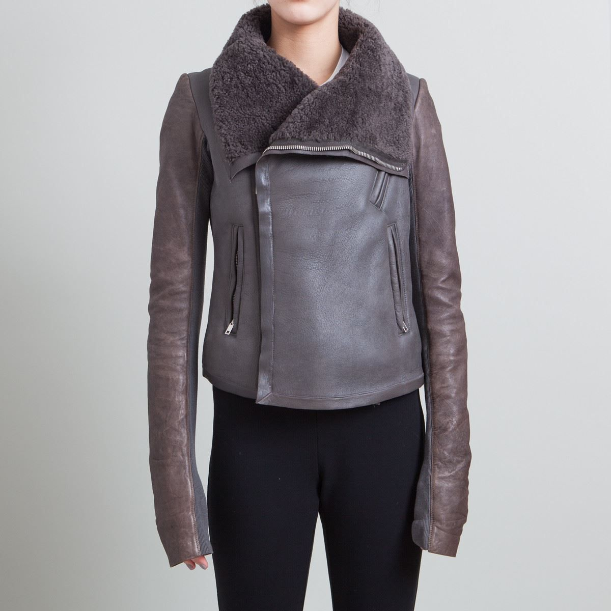 Rick Owens Grey and Brown Leather Shearling Jacket Size