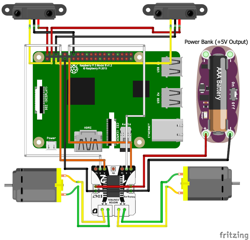 schematic diagram for raspberry pi line follower robot