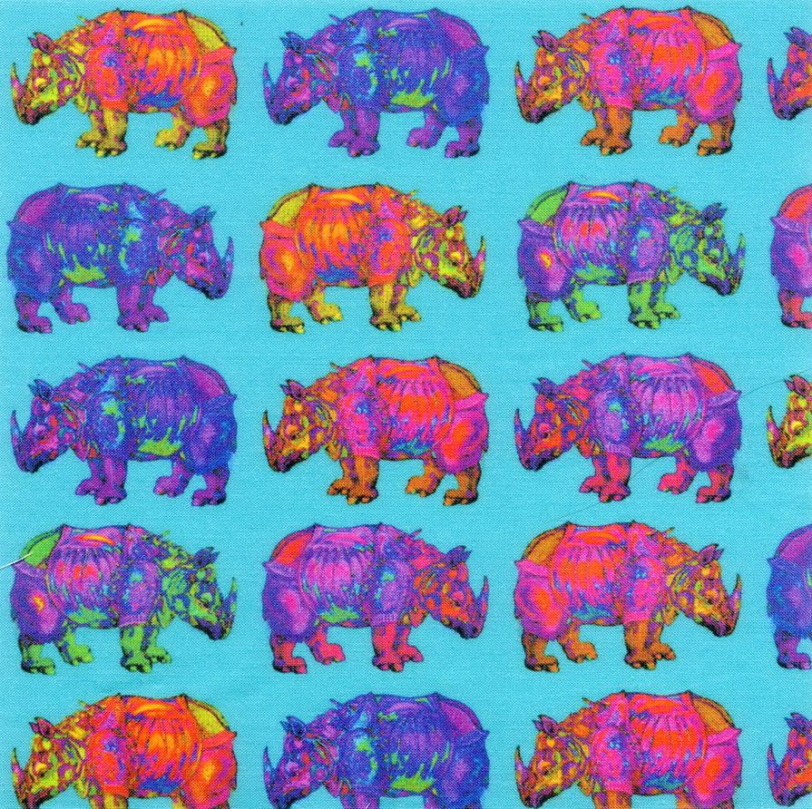 """RHINOCEROS PROCESSION ON TURQUOISE 20x20cm (8""""x8"""") fabric swatch printed on 130g cotton http://www.printmepretty.co.uk/1132/RHINOCEROS-PROCESSION-on-turquoise-by-PAYSMAGE"""