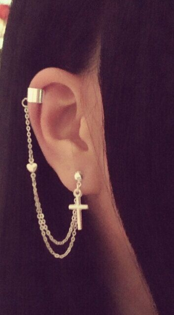 Cross And Heart Charm Cartilage Chain Earrings On Etsy 10 86