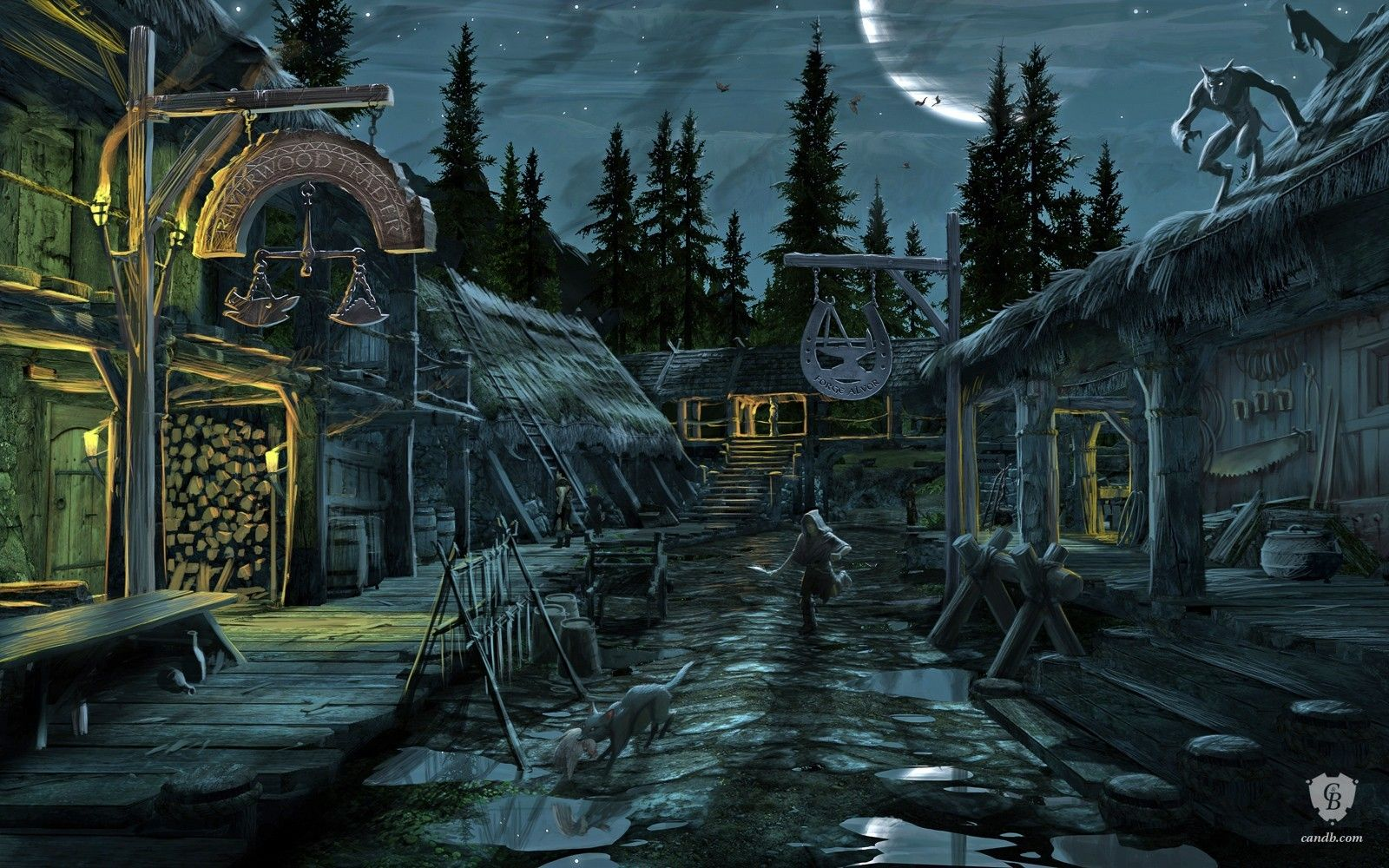 Artwork Riverwood Nighttime | Skyrim | Bethesda Softworks