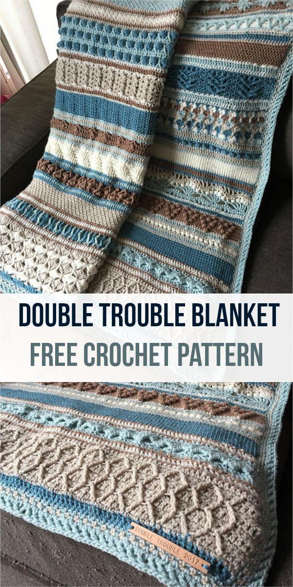 Double Trouble Blanket [Free Crochet Pattern] #crochet #crochetlove ...
