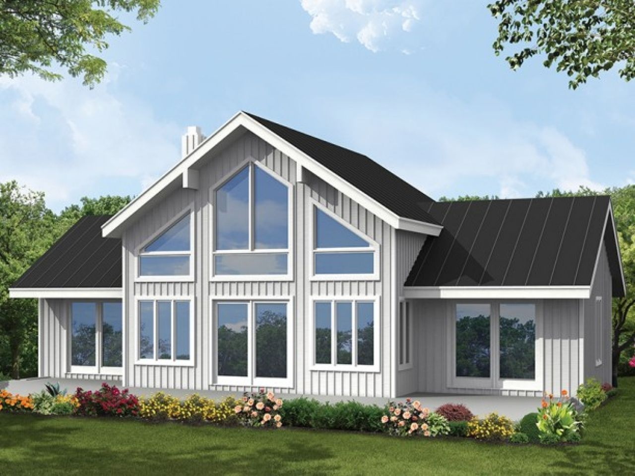 Big window house plans let natural light in 4 bedroom for Large windows for homes