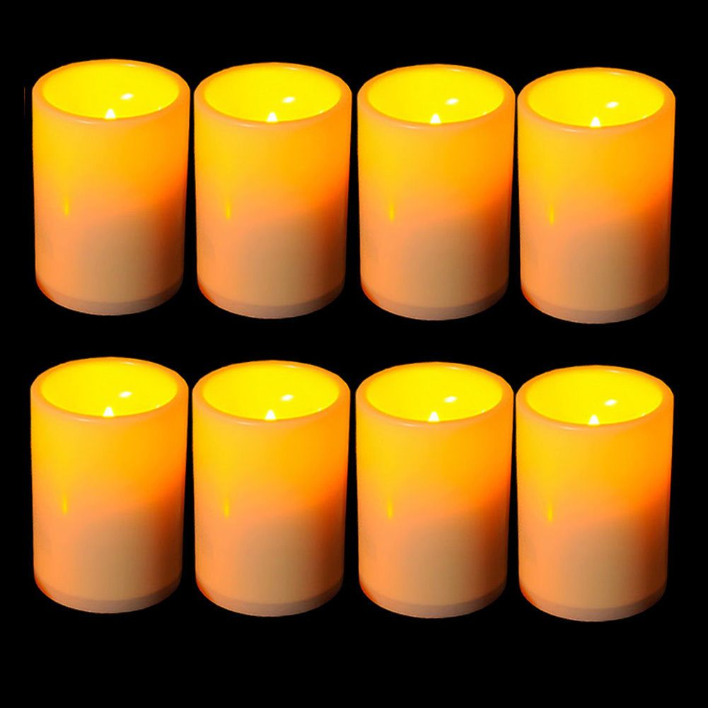 X flickering flameless resin pillar led candle lights wtimer for