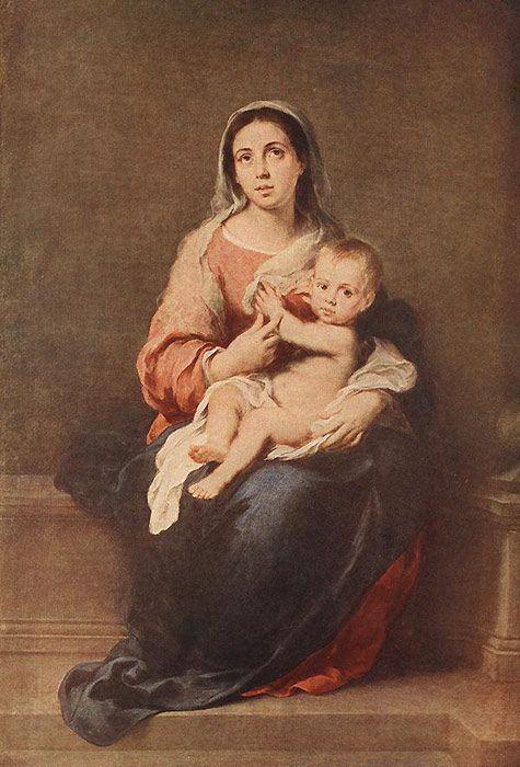 Esteban Bartolome Murillo Paintings-Madonna and Child, c.1670