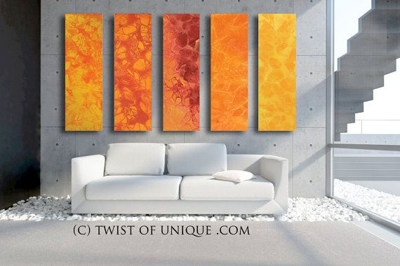 HUGE Oversized Abstract Painting CUSTOM 5 Panel by TwistOfUnique, $1024.00