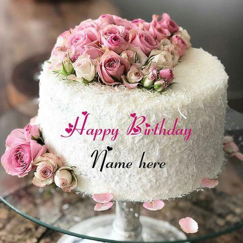 Write Name On White Forest Birthday Cake White Forest Birthday Cake With Rose Flower Flower Birthd With Images Happy Birthday Wishes Cake Birthday Cake Writing Cake Name