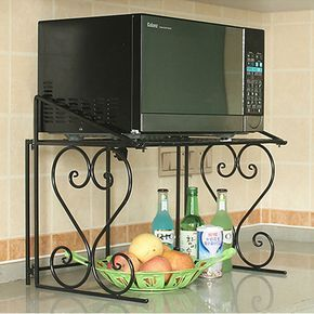 Details About 2 Tier Metal Multifunctional Microwave Oven Rack