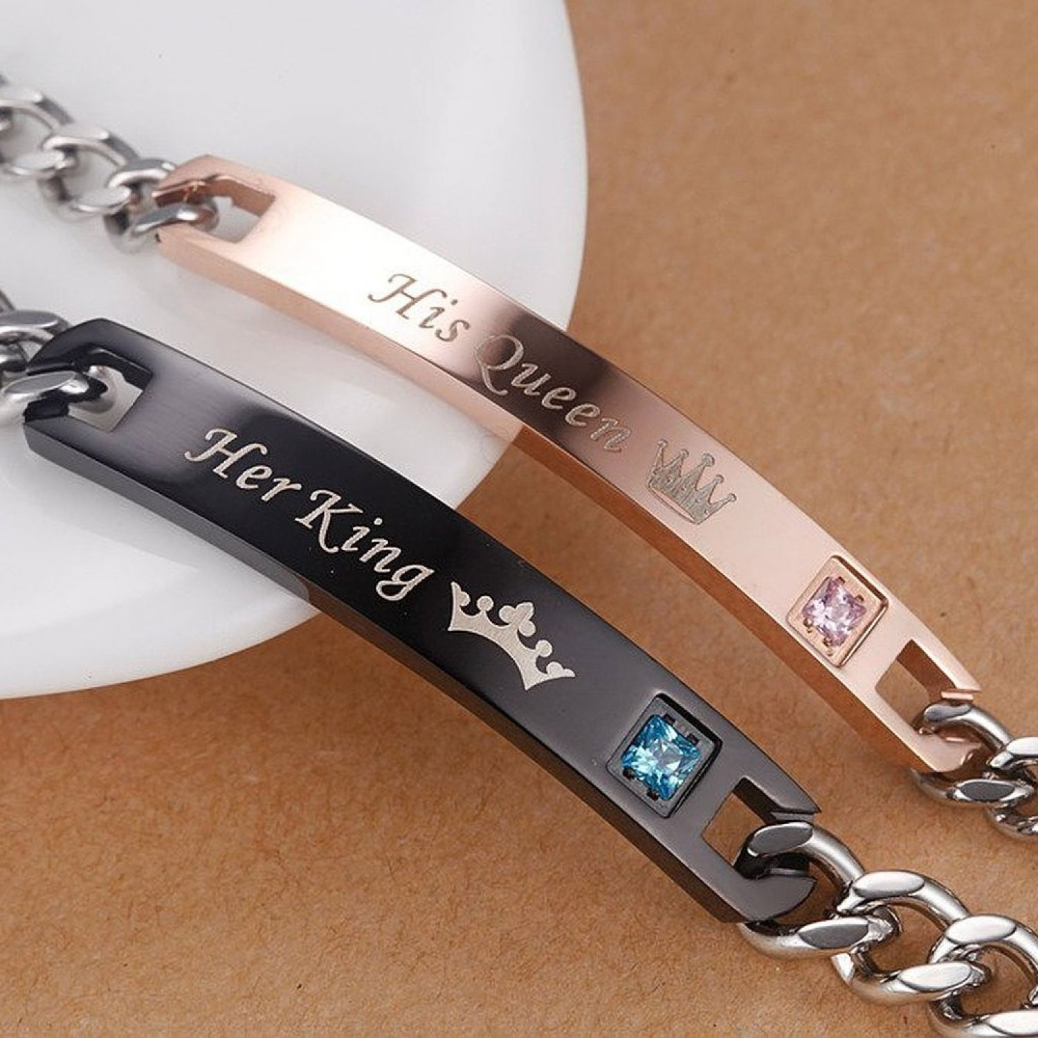 Couple bracelets with charm crystal stone her king his queen lover