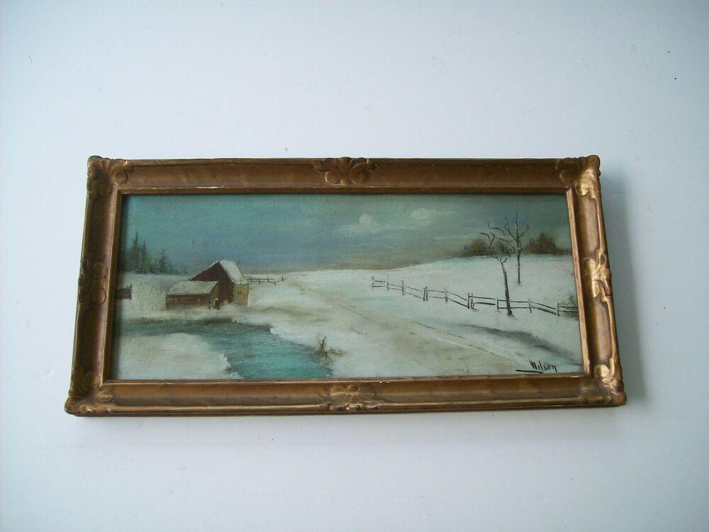 Antique Mini 6 X 13 Original Frame Glass Snow Farm Fence Pastel Painting Wilson Americana Vintage Landscape Mountain Paintings Oil Painting Landscape
