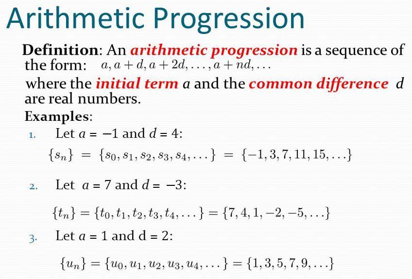 Arithmetic Progressions  Progressions    Arithmetic
