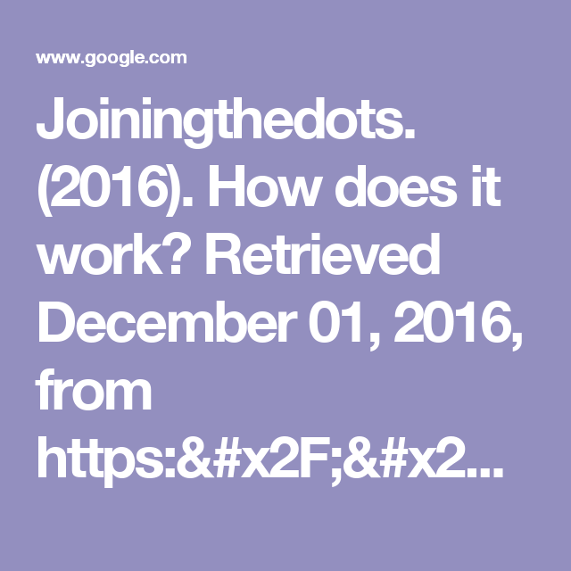 Joiningthedots. (2016). How does it work? Retrieved December 01, 2016, from https://www.joiningthedots.org/the-welcome-dinner-project - Google Search