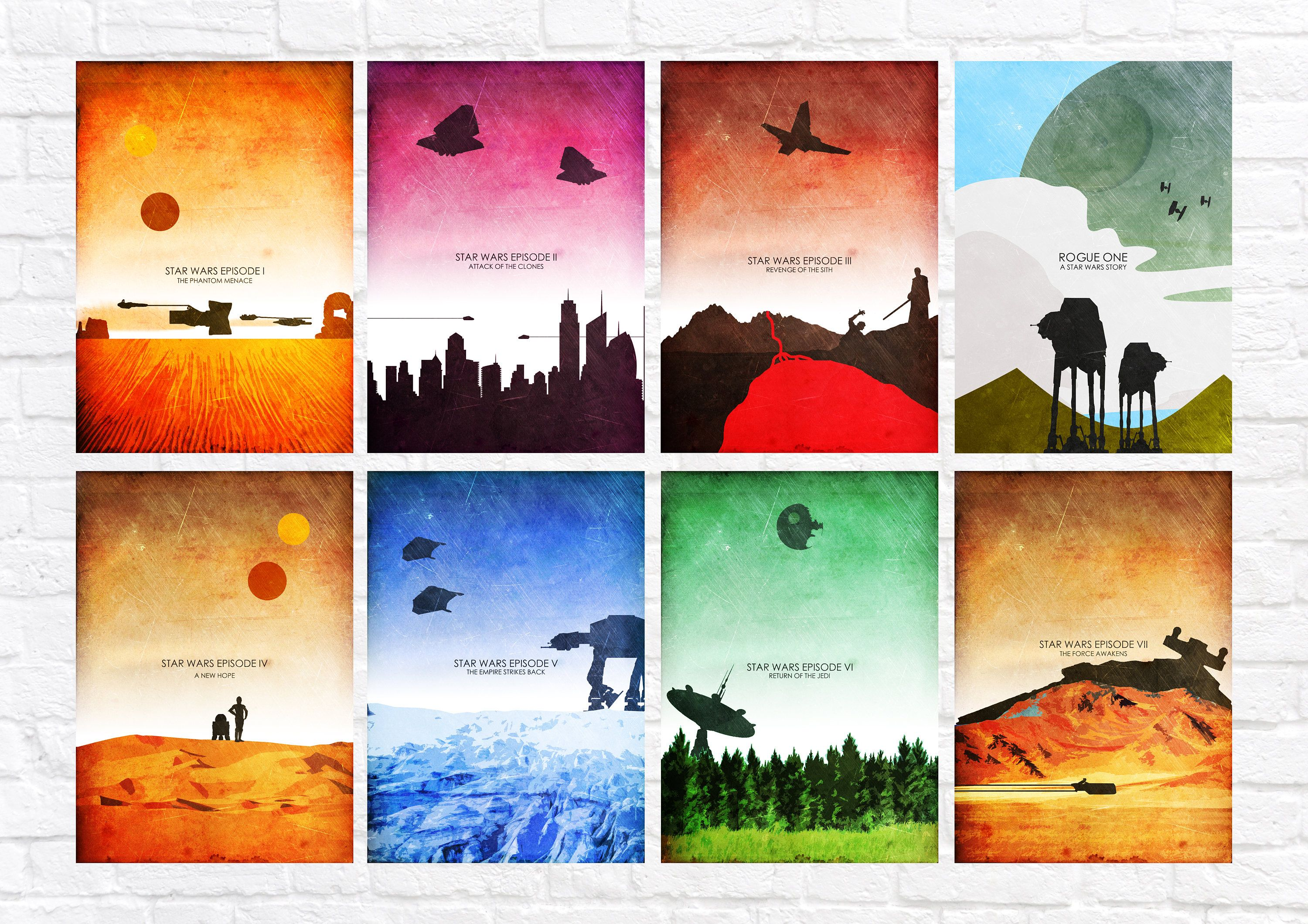 Star Wars Episode I Viii Minimalist Art Poster Print Set Last Jedi Wall Art Star Wars Poster Set Of All 8 Prints Star Wars Wall Art Star Wars Poster Jedi Wall Art