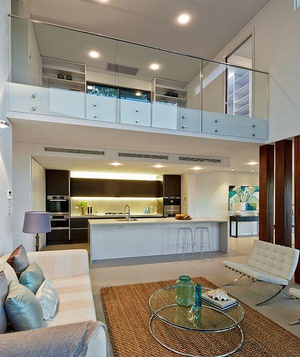 Contemporary Living Room In White With Glass Fence For Mezzanine Floor Decoist Floor Design Loft Design House Design