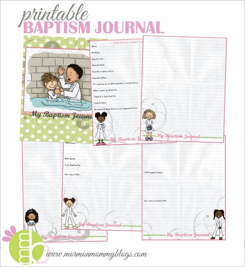 Mormon Mommy Printables Printable Baptism Journal for