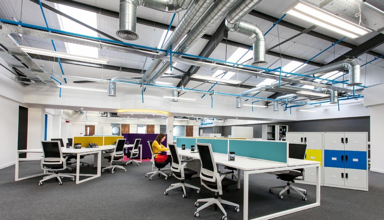 Interaction office design Case Study | CPI Books, Melksham. Promoting well being. Contemporary colourful office design. Cosy yet professional new workplace for its employees. Refurb fit out by Interaction.